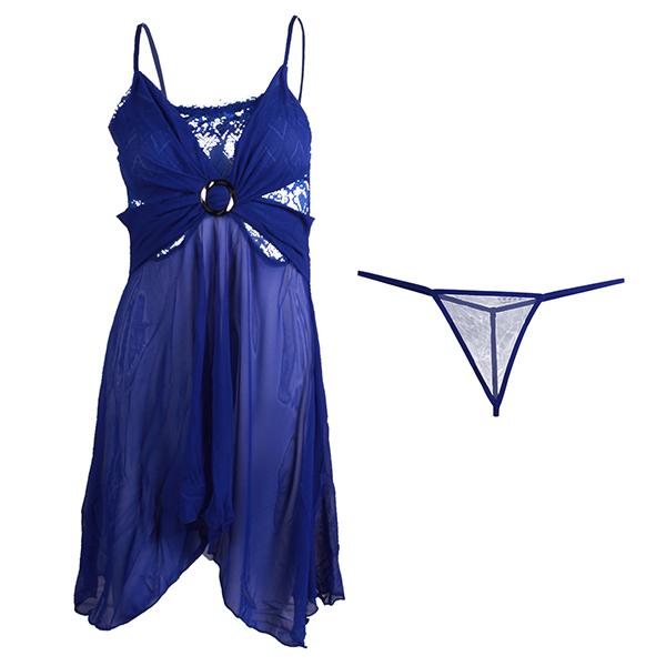 لباس خواب توری زنانه کد001 سرمه ای
