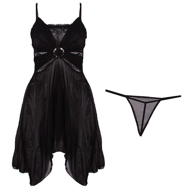 لباس خواب توری زنانه کد 001 مشکی
