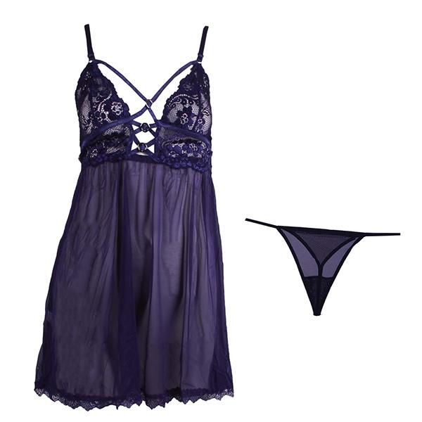 لباس خواب توری بندی زنانه کد 070 سرمه ای
