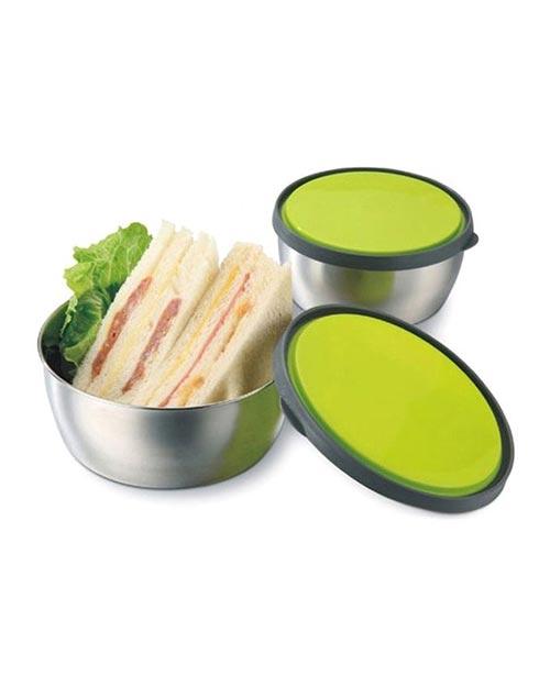 ظرف غذا استیل درب رنگی سه عددی سبز
